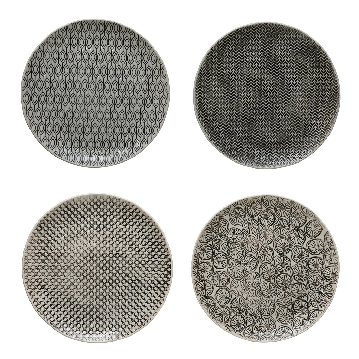 """10"""" Round Hand-Stamped Stoneware Plate w/ Embossed Pattern, Black & Cream Color, 4 Styles"""
