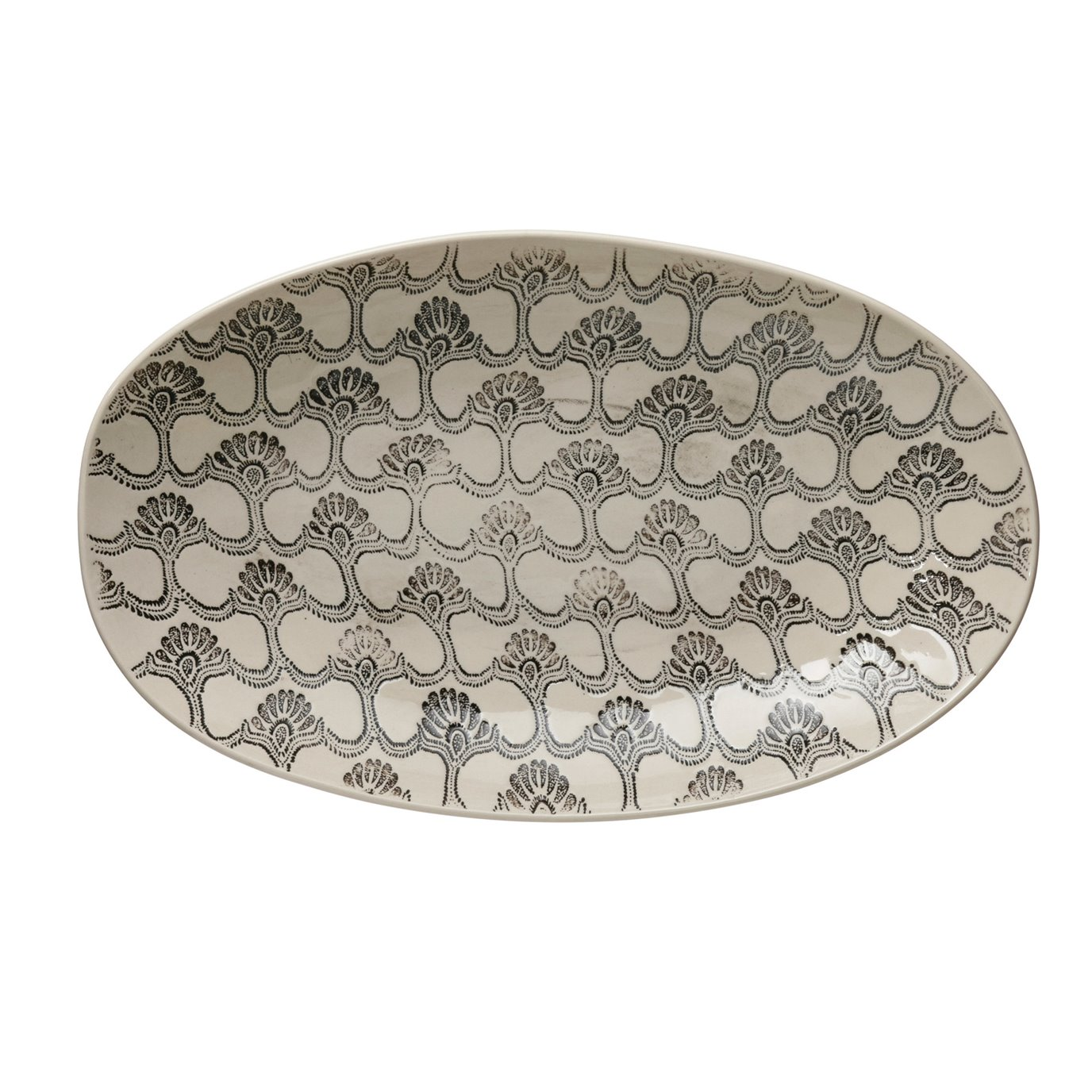 Hand-Stamped Stoneware Serving Bowl with Embossed Pattern, Black & Cream Color