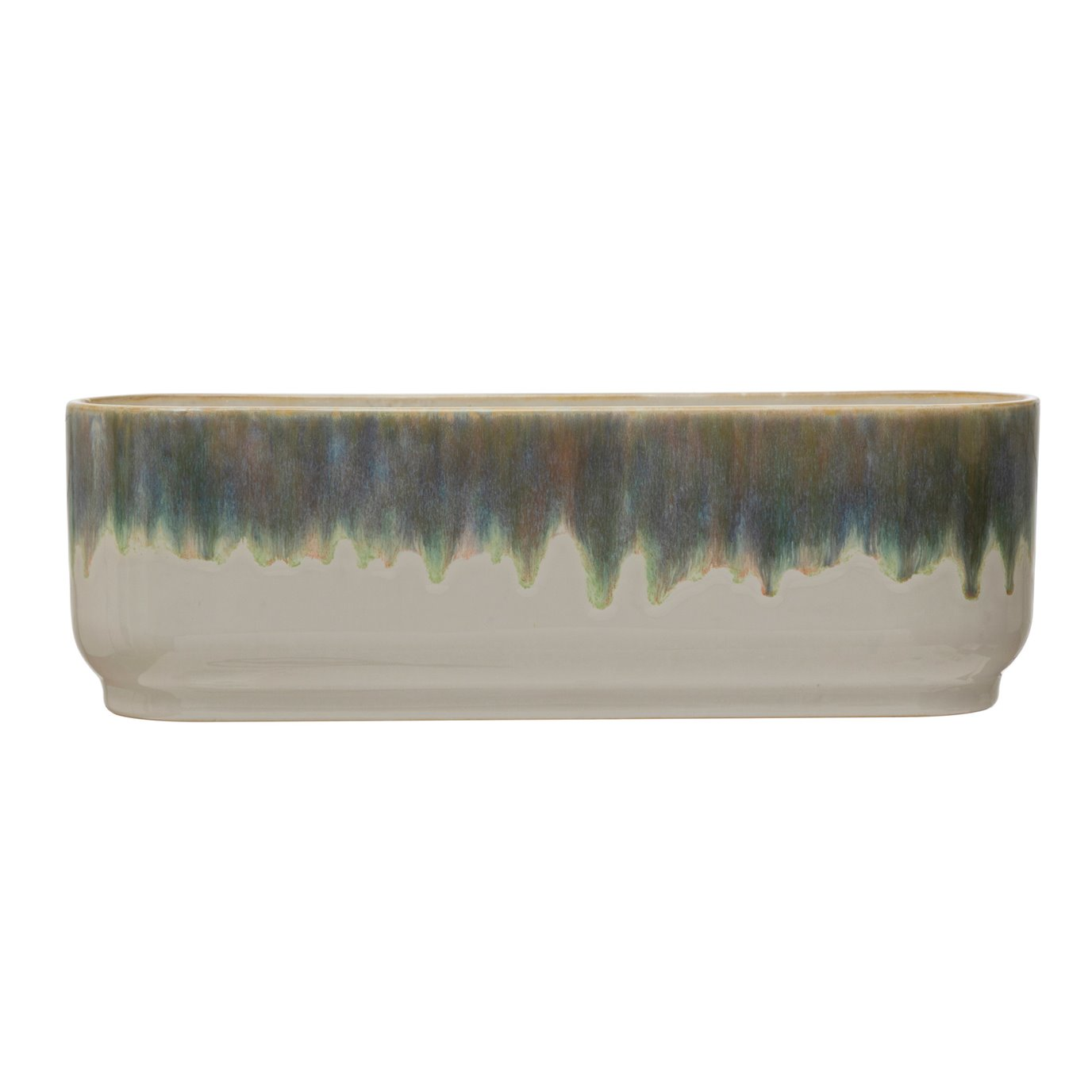 Stoneware Window Planter with 3 Sections, Reactive Glaze, Blue & White (Each One Will Vary)