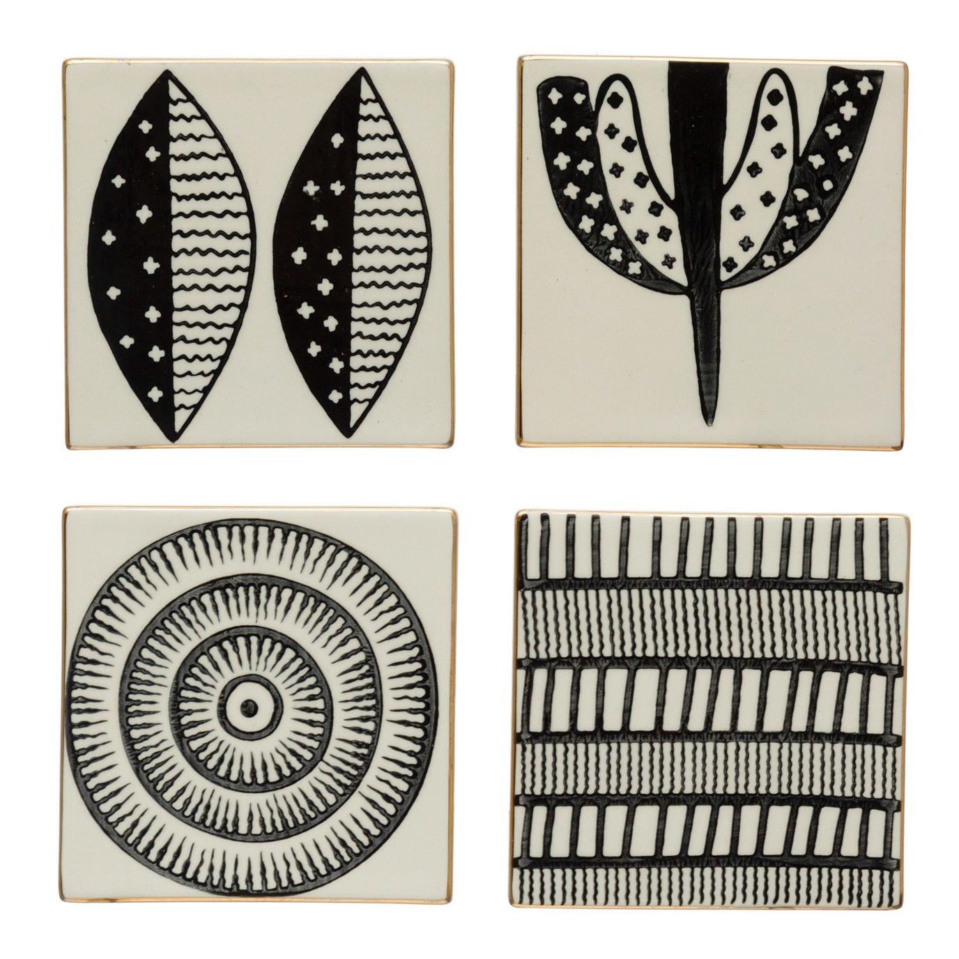 "4"" Square Stoneware Coasters w/ Pattern & Gold Electroplating, Black & White, Set of 4, 4 Styles"