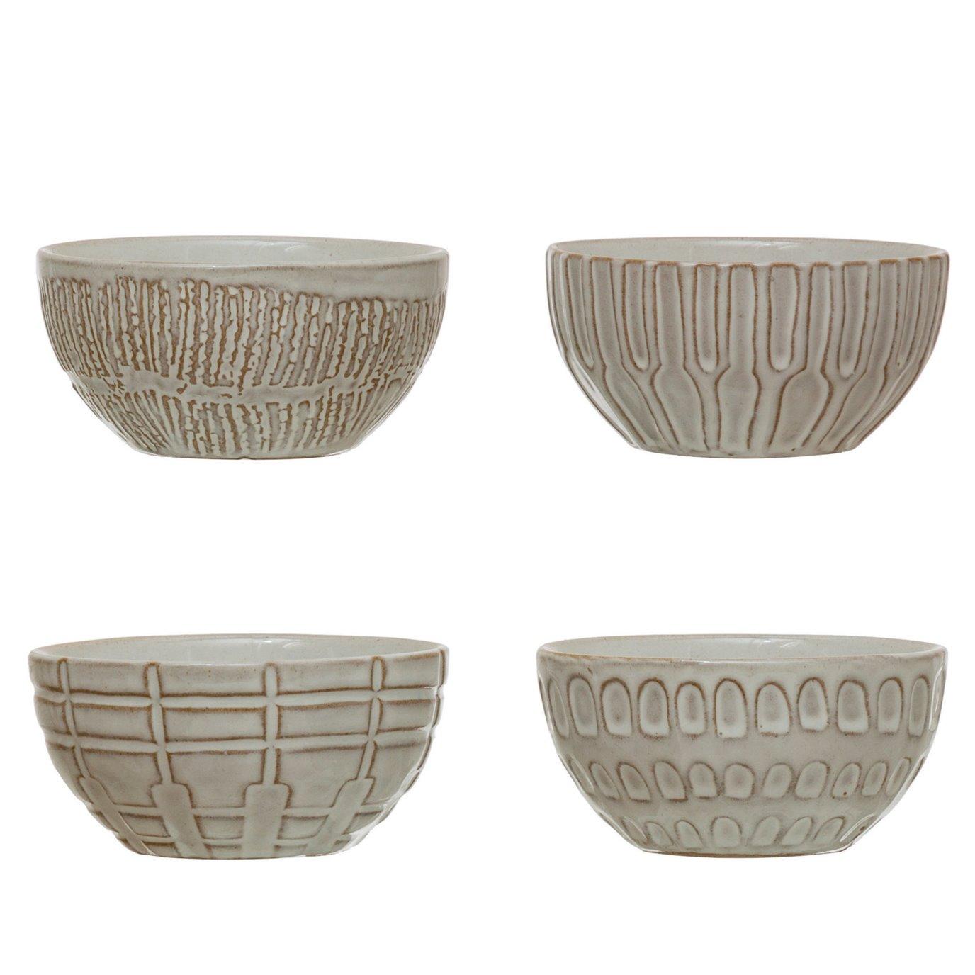 Debossed Stoneware Bowl, White, 4 Styles