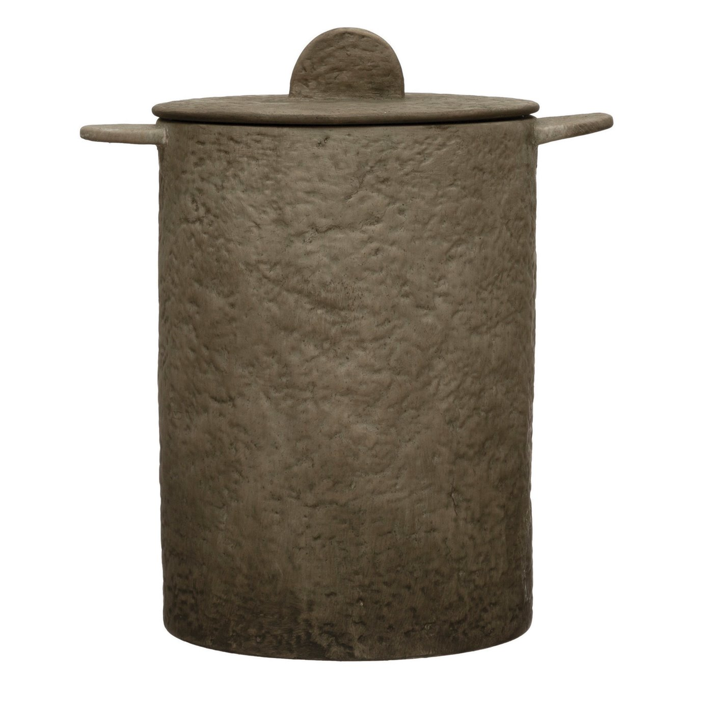 Textured Terra-cotta Jar with Lid, Matte Beige
