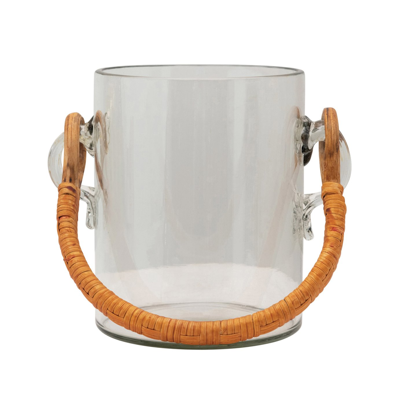 2 Quart Glass Ice Bucket with Bamboo Wrapped Handle