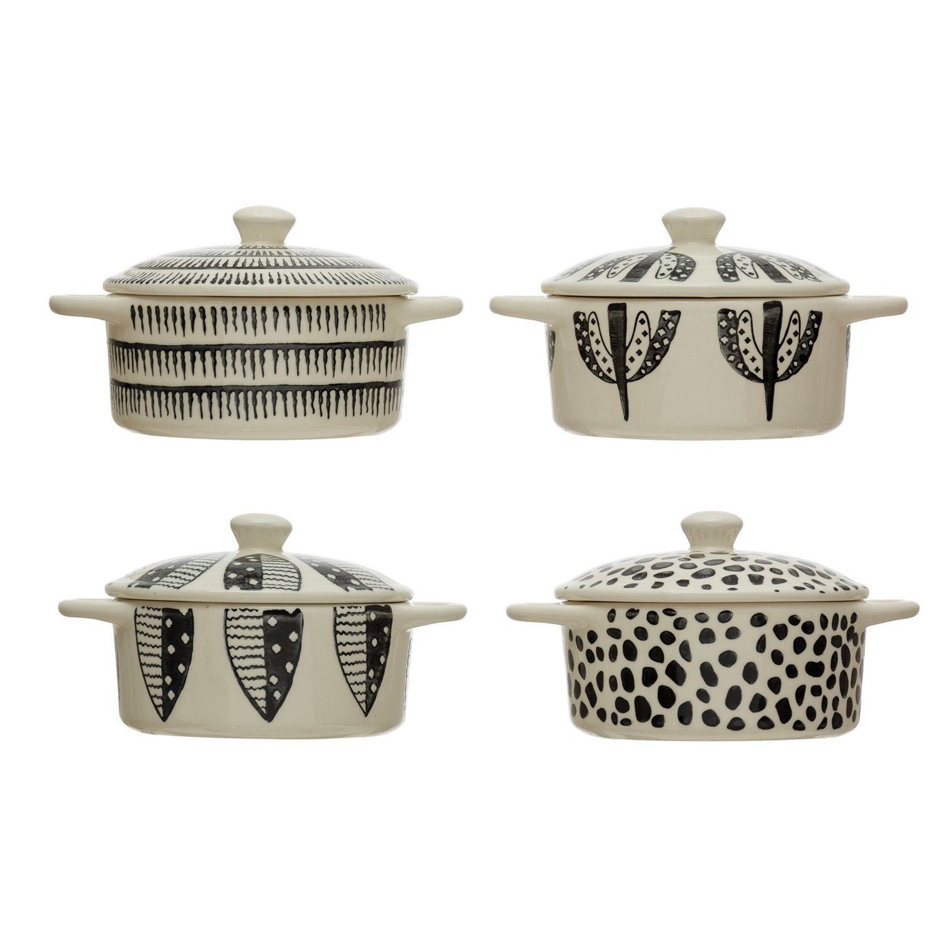 Stoneware Mini Baker w/ Lid & Pattern, Black & White, 4 Styles