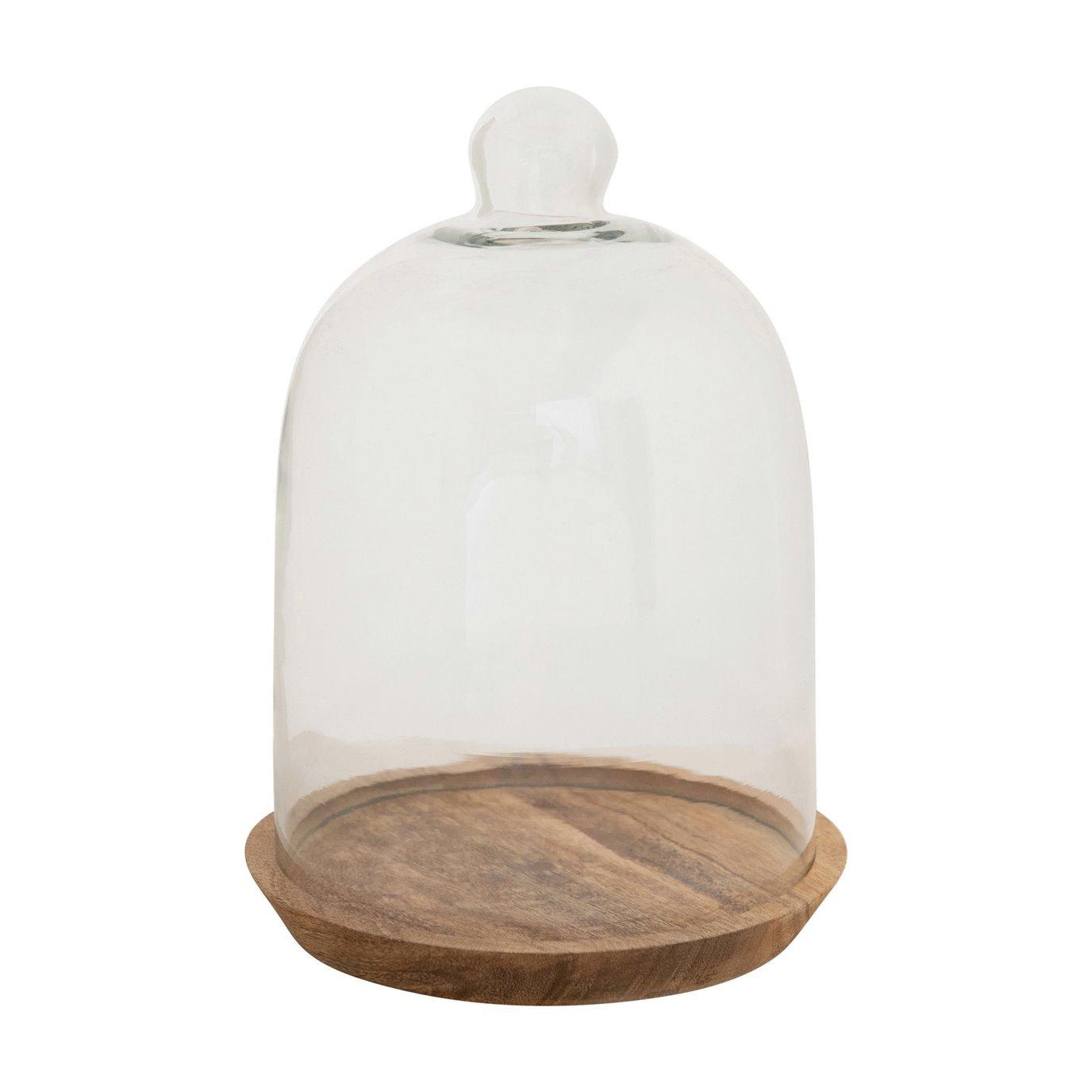 Glass Cloche with Mango Wood Base, Set of 2