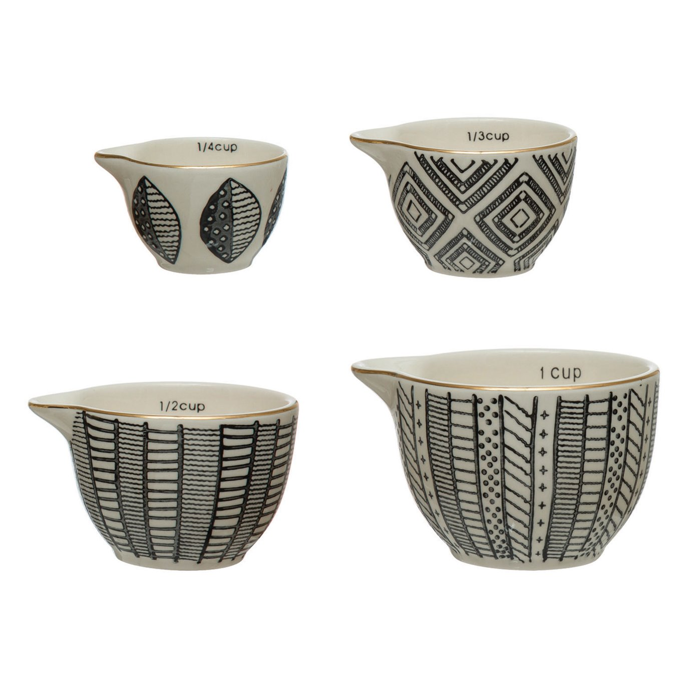 Stoneware Measuring Cups with Pattern & Gold Electroplating, Black & White, Set of 4