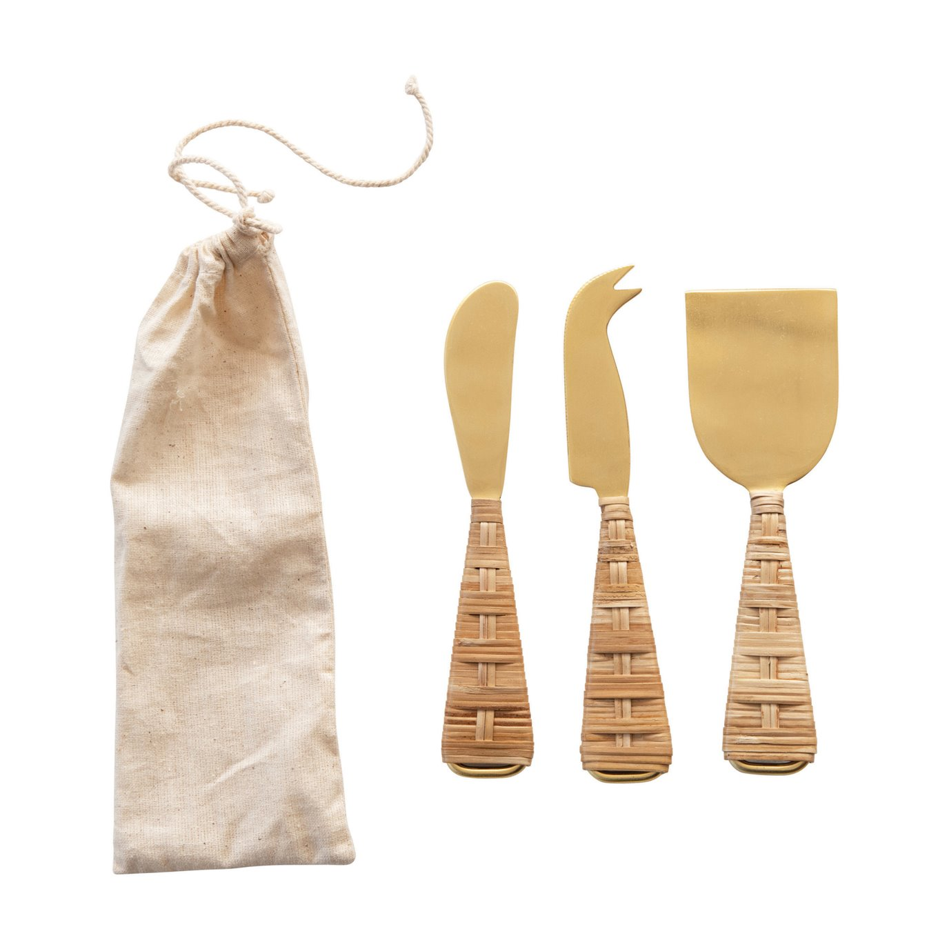 Stainless Steel Cheese Knives with Rattan Wrapped Handles in Drawstring Bag, Gold Finish, Set of 3