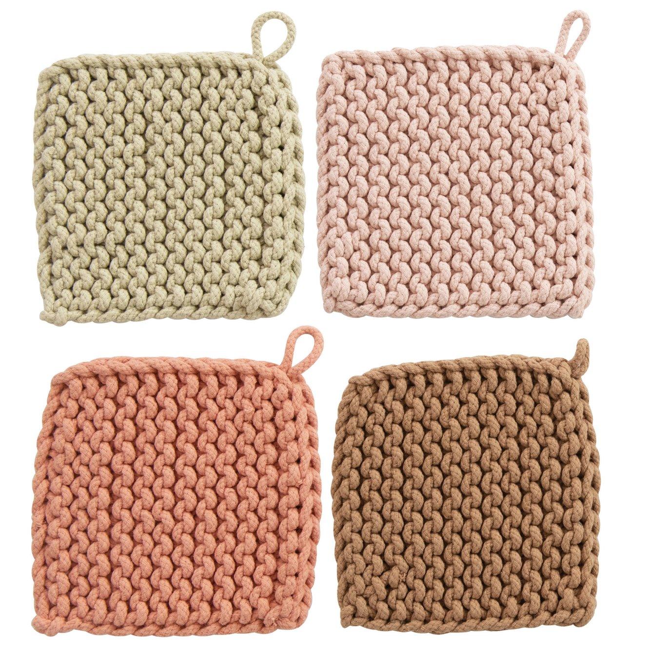 Square Cotton Crocheted Potholder, 4 Colors