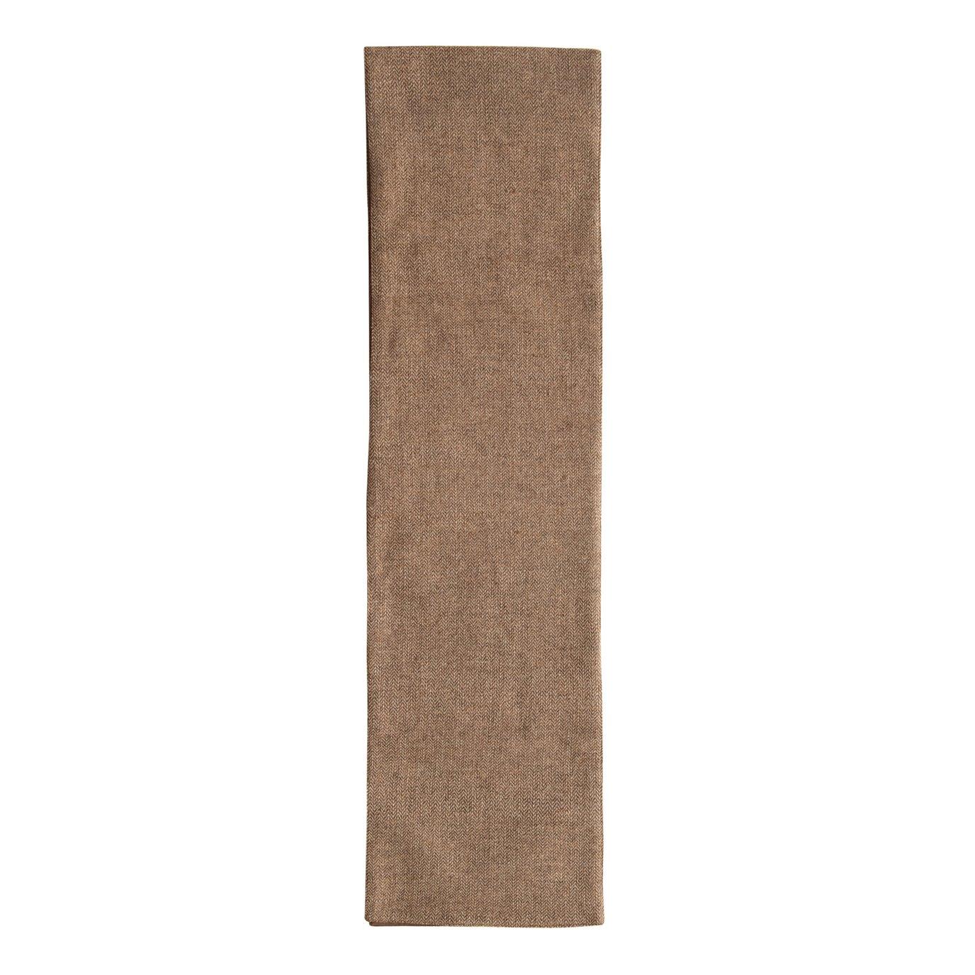 Wool Blend Tweed Table Runner, Brown