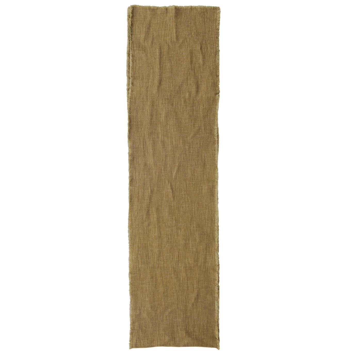 Linen Blend Table Runner with Frayed Edges, Olive Color