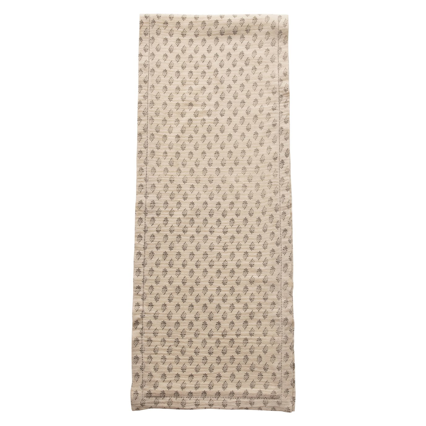 Cotton Table Runner with Printed Floral Pattern, Grey & Cream Color