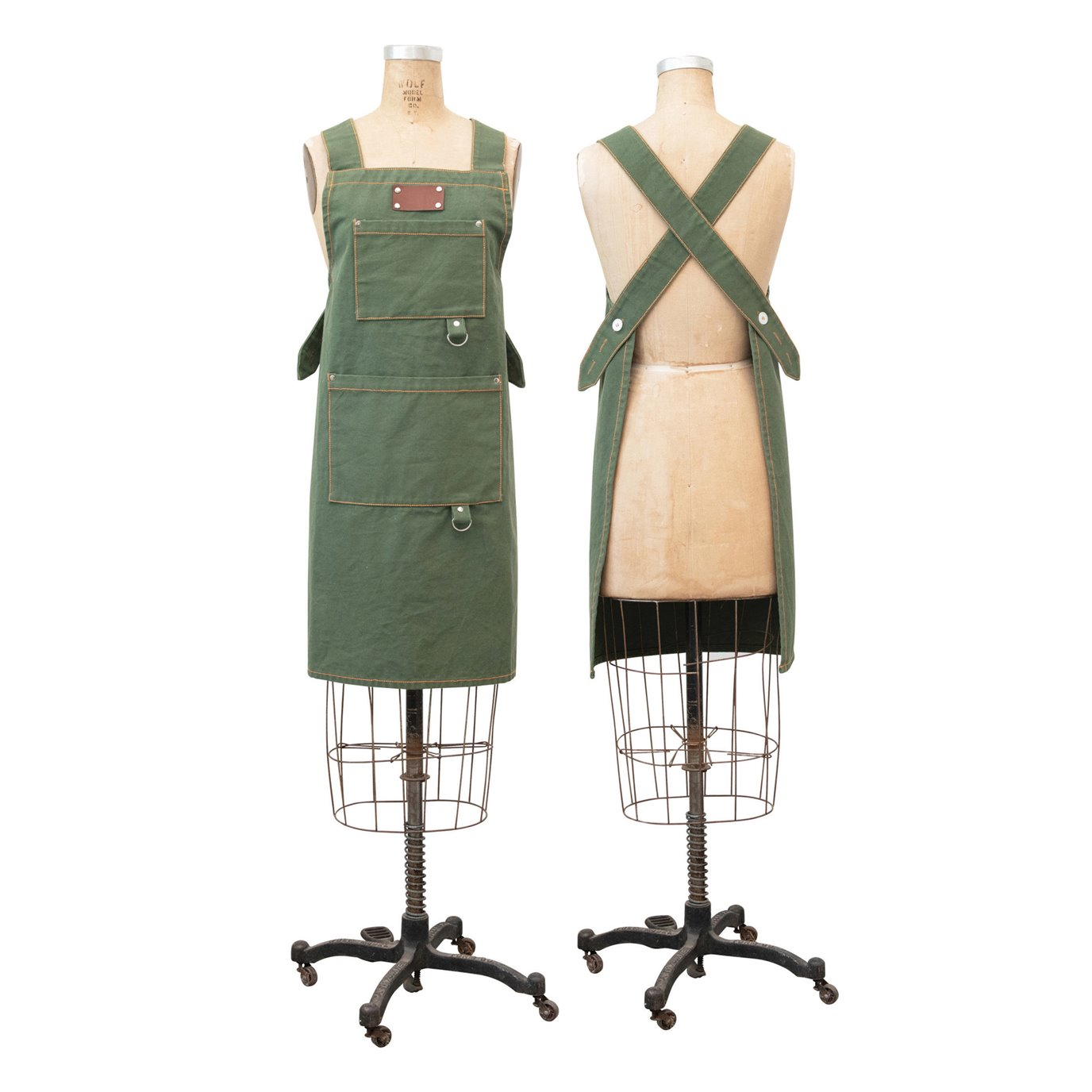 Cotton Canvas Cross Back Apron with Pockets & Rivets, Green