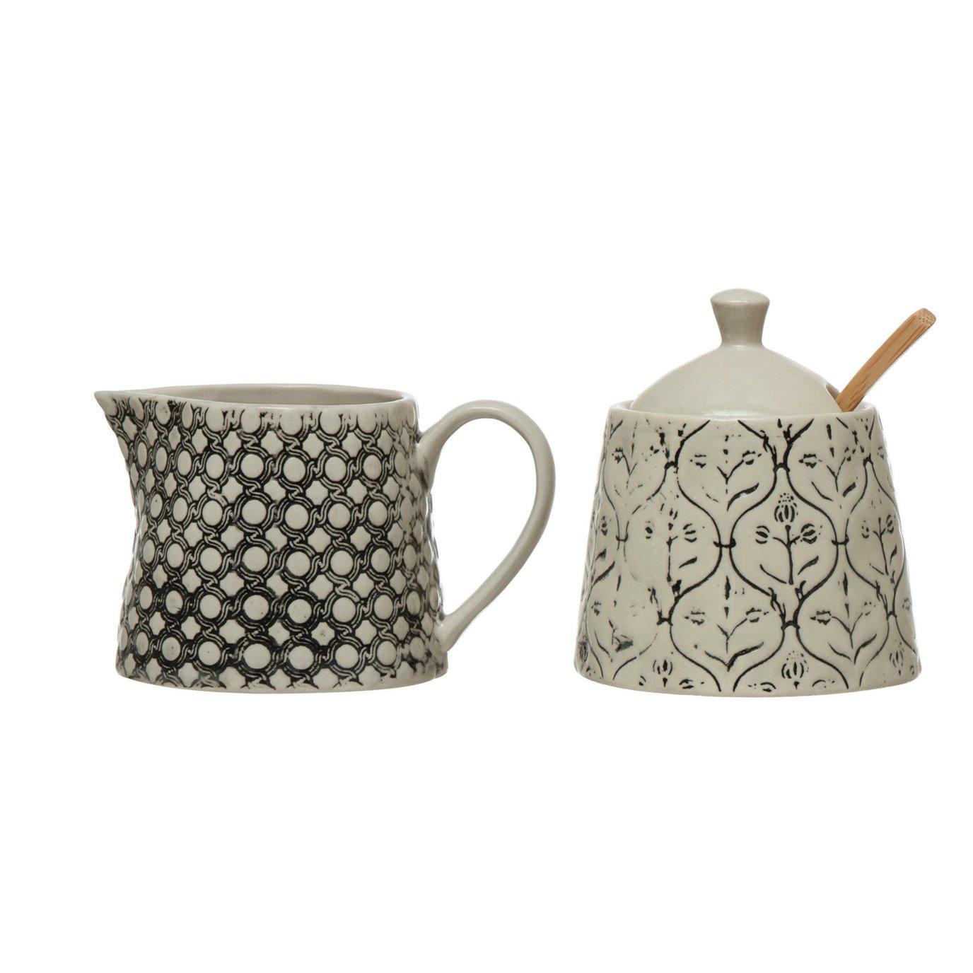 "6 oz. Hand-Stamped Stoneware Creamer & 3-1/2"" Round x 4""H 8 oz. Sugar Jar with Lid, Wood Spoon & Embossed Pattern, Black & Cream Color, Set of 3"