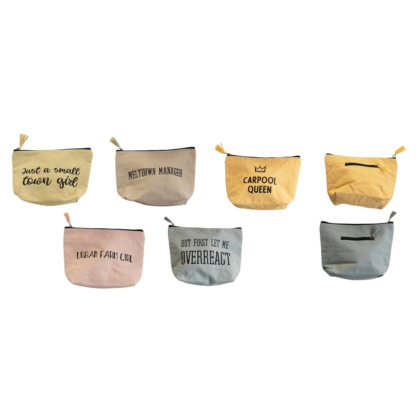 Stonewashed Cotton Canvas Adoni Zip Pouch w/ Back Pocket & Sayings, 5 Styles