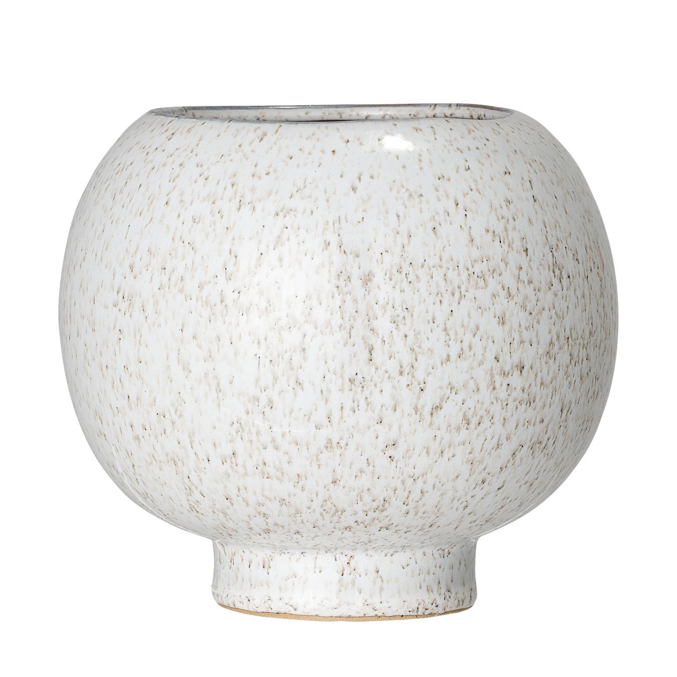 Ball Shaped White Speckled Stoneware Flower Pot