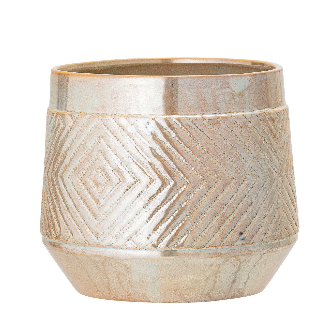 Large Pearlized Stoneware Flower Pot