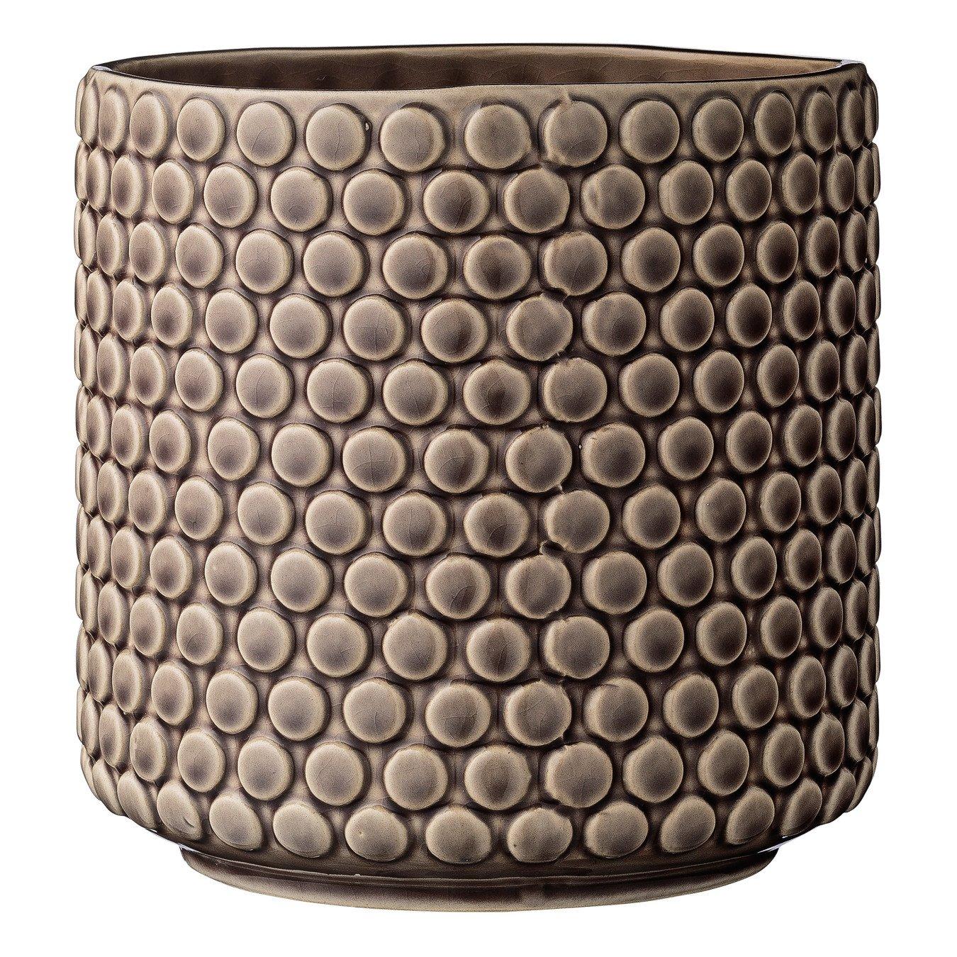 Round Brown Polka Dot Stoneware Flower Pot
