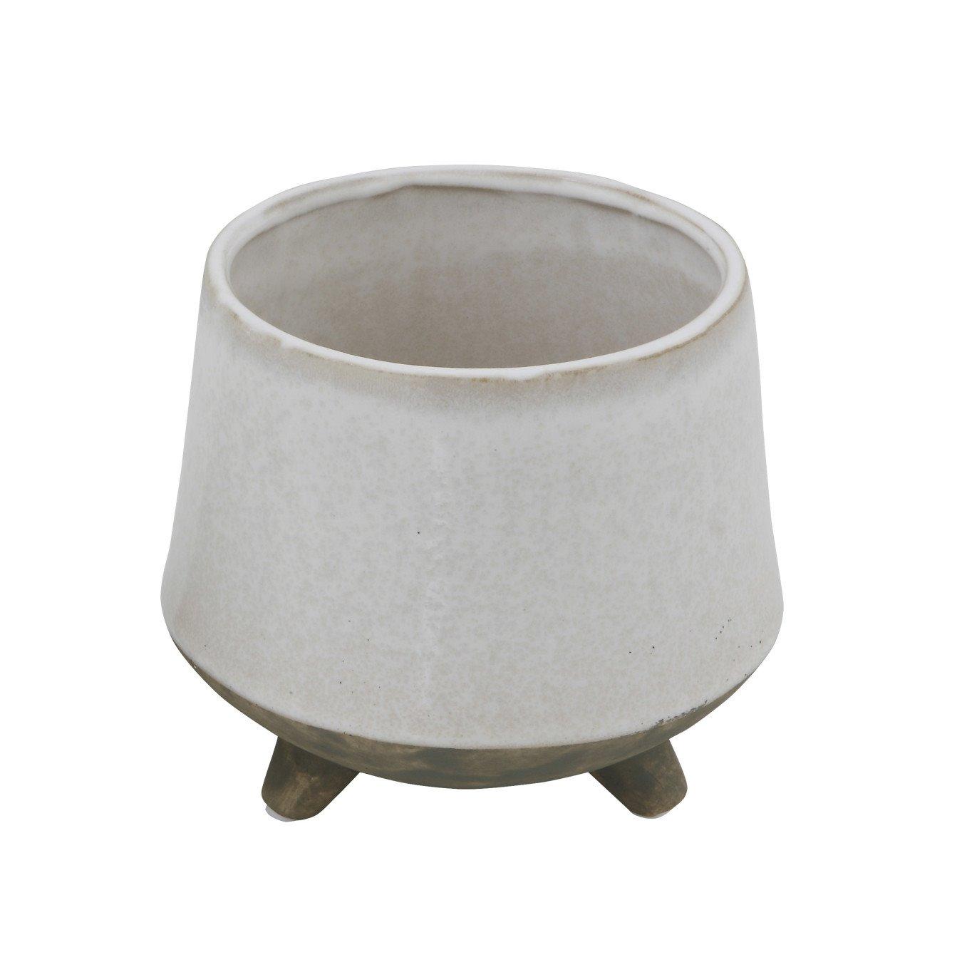 Round White Stoneware Planter with Feet