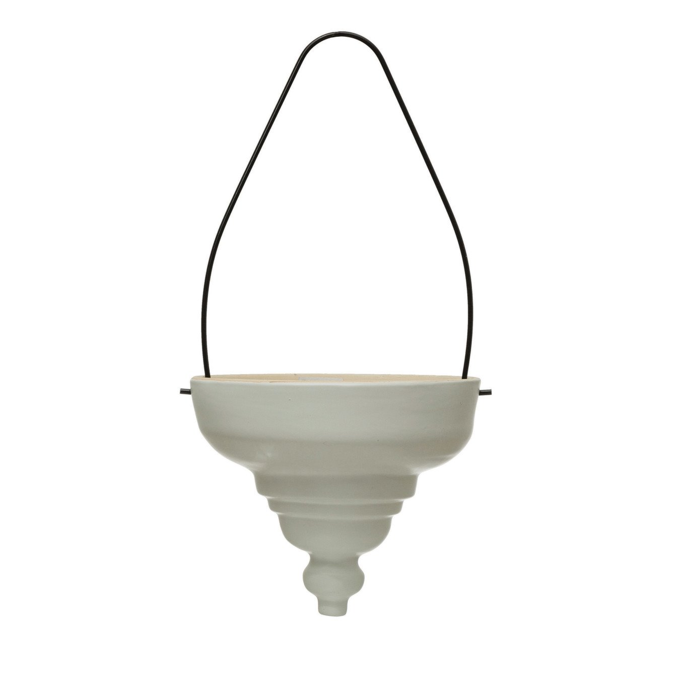 Terra-cotta Hanging Planter with Metal Hanger, Matte White