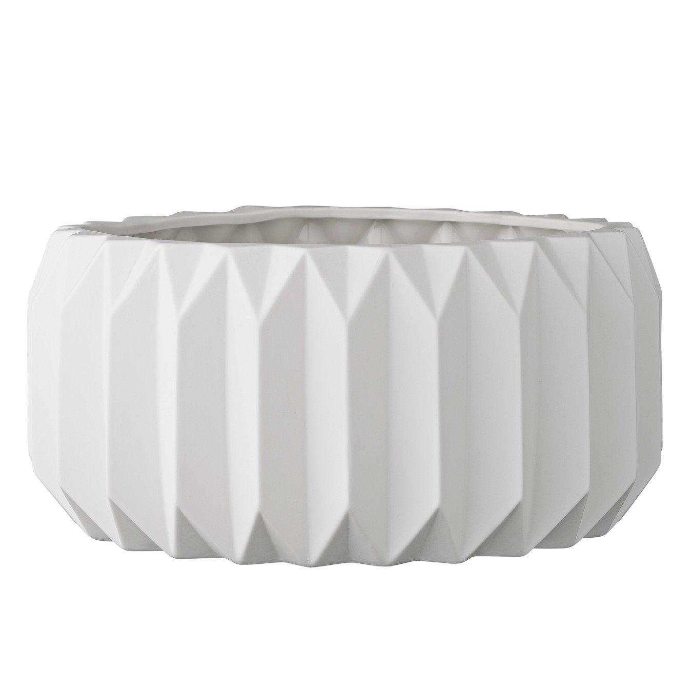 Shallow White Fluted Ceramic Flower Pot
