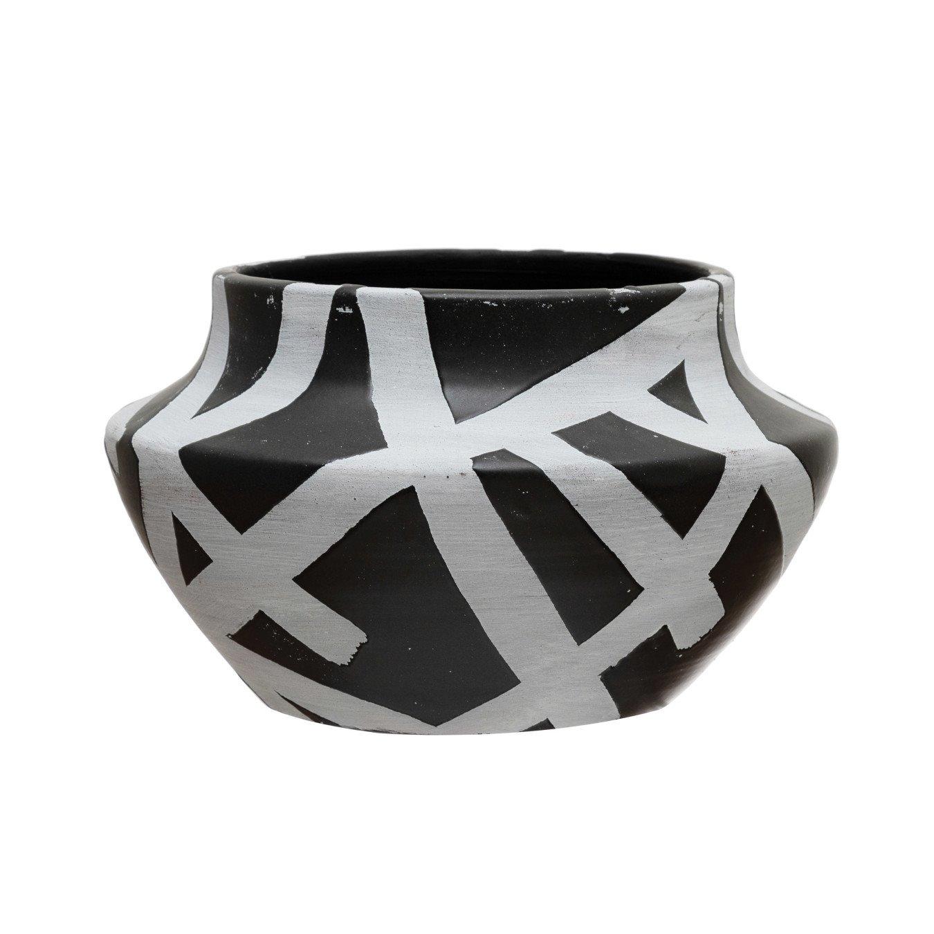 "Terra-cotta Planter with Design, Black & White (Holds 5"" Pot)"