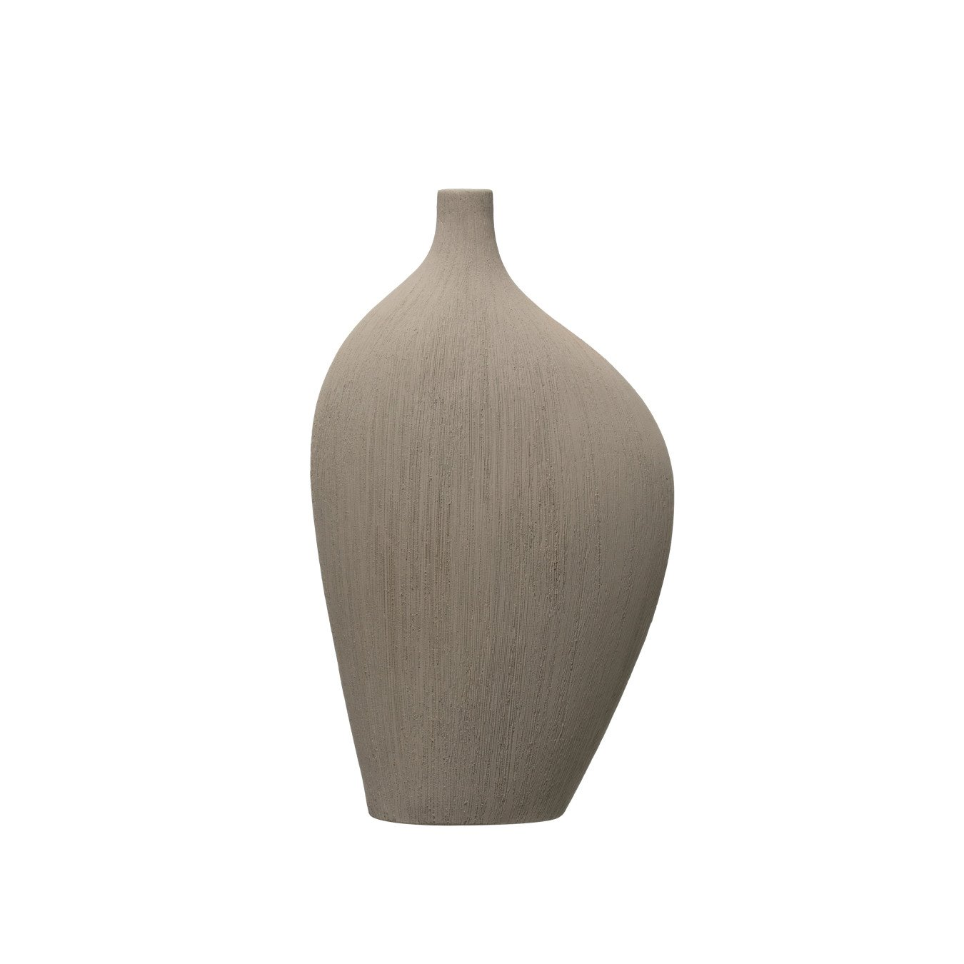 "12""H Flat Abstract Stoneware Vase with Rough Texture"