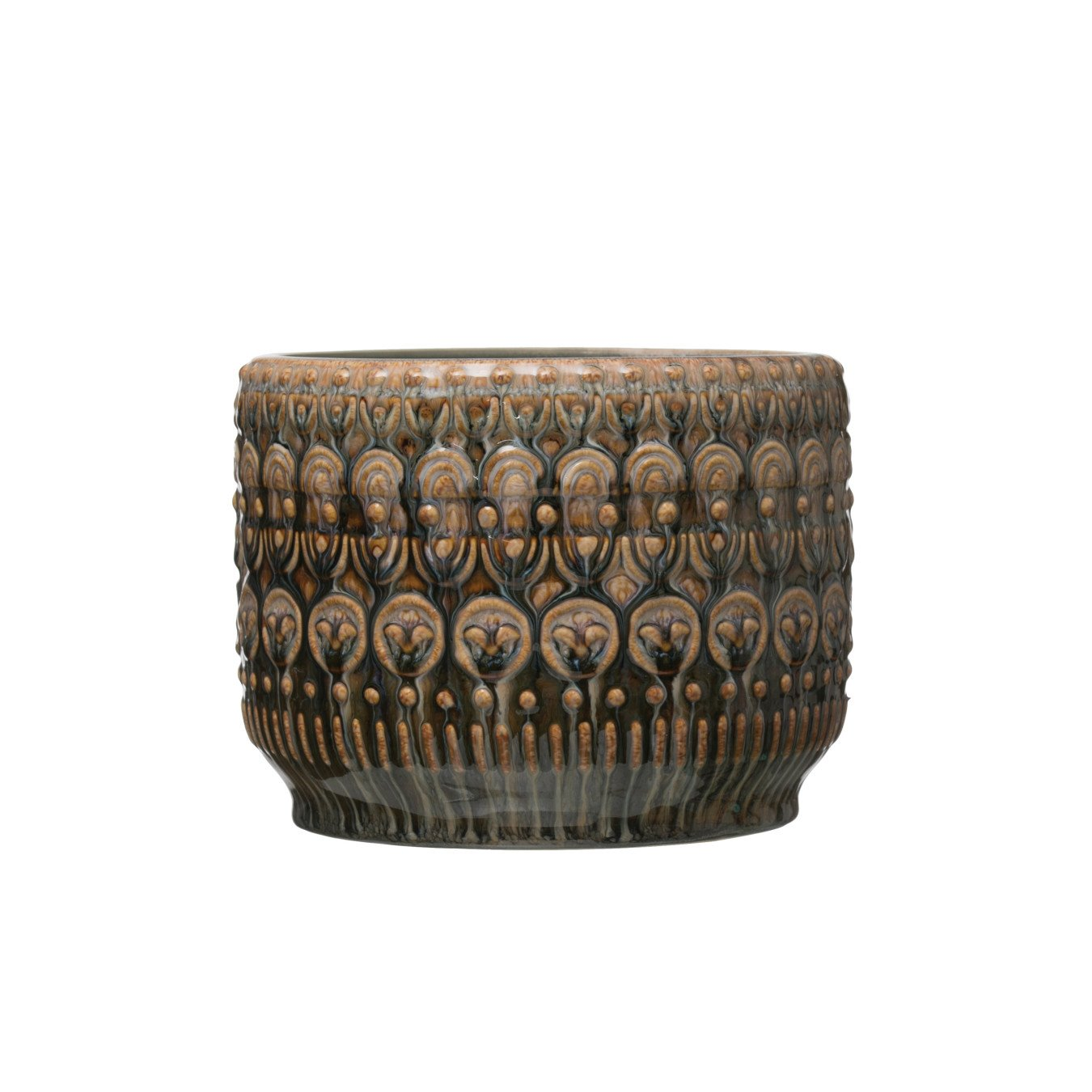 "8"" Round Embossed Stoneware Planter with Reactive Glaze Finish (Holds 7"" pot/Each one will vary)"