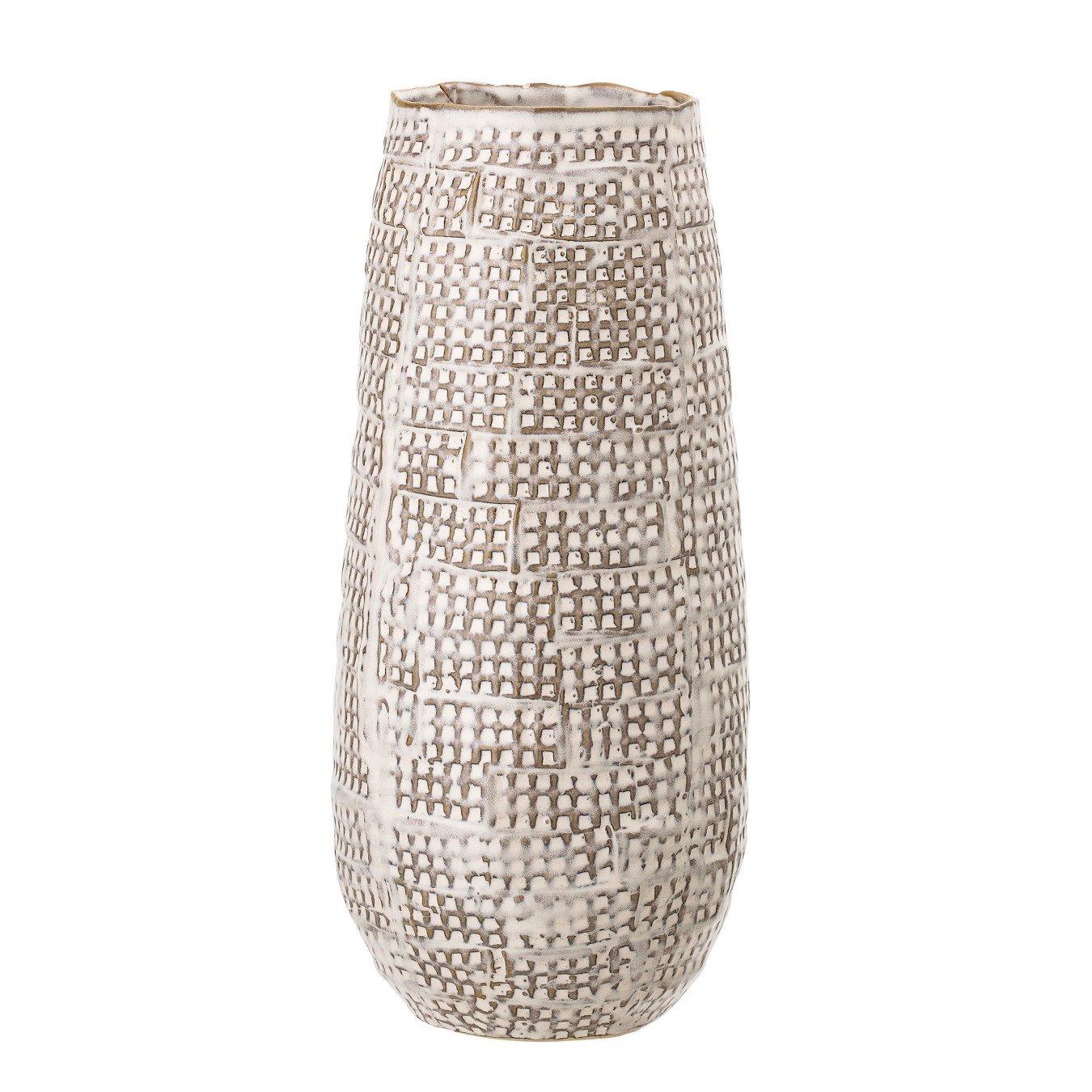 Brown Basketweave Embossed Stoneware Vase