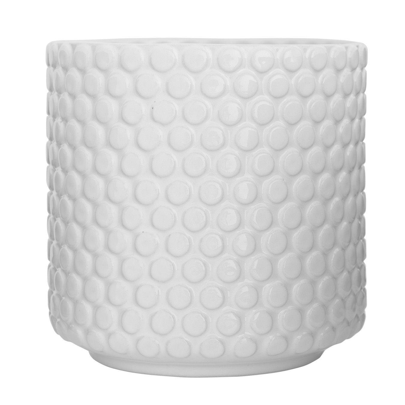 Round White Polka Dot Stoneware Flower Pot