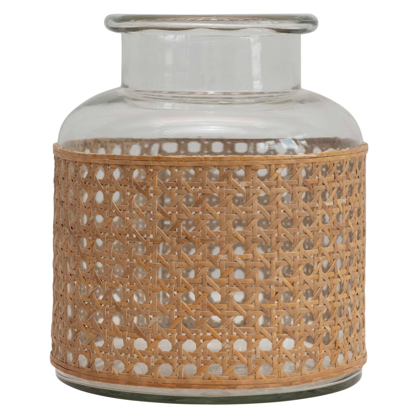 """8""""H Glass Vase with Decorative Cane Sleeve"""