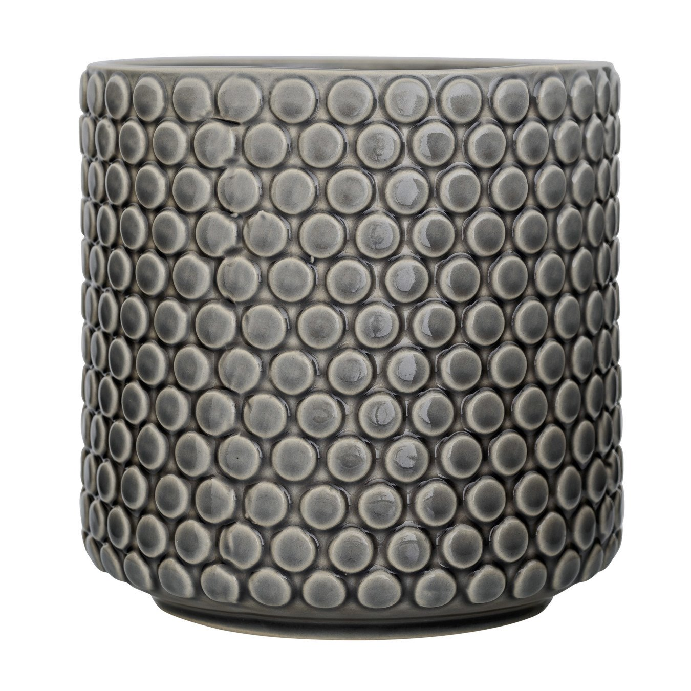 Grey Stoneware Flower Pot with Polka Dots