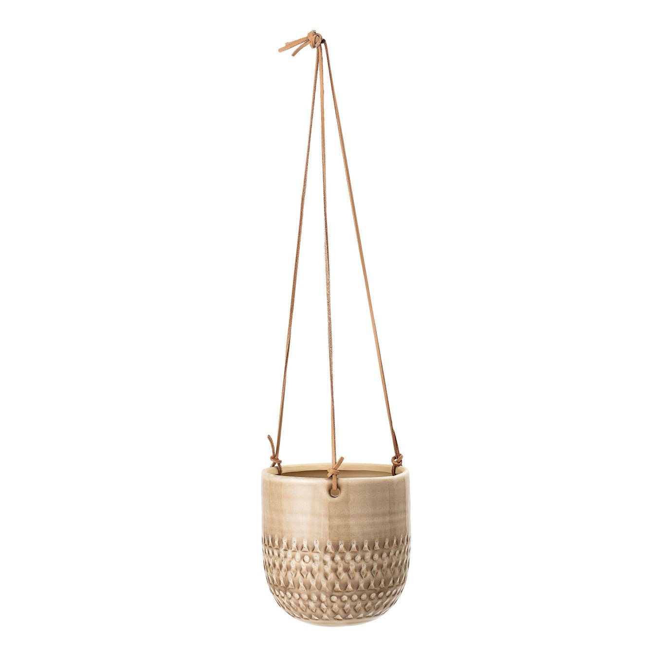 Large Hanging Stoneware Flower Pot with Leather Strings