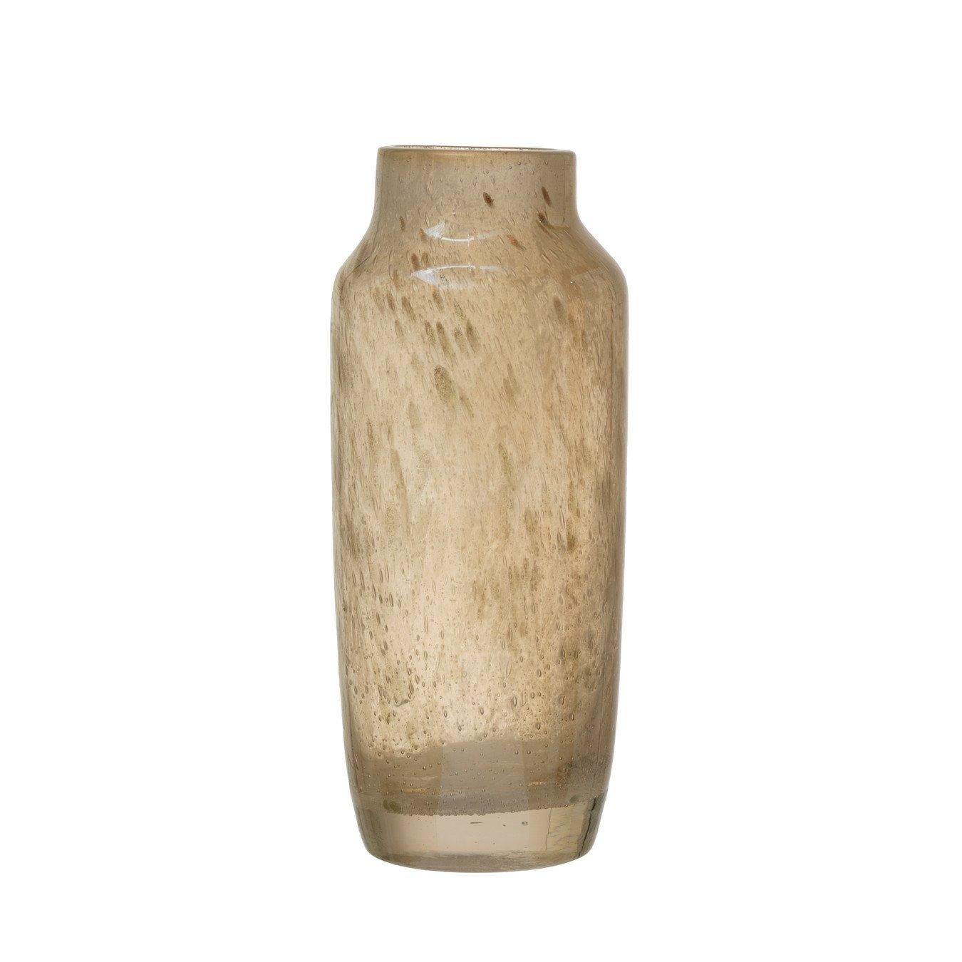 Iridescent Beige Glass Decorative Vase