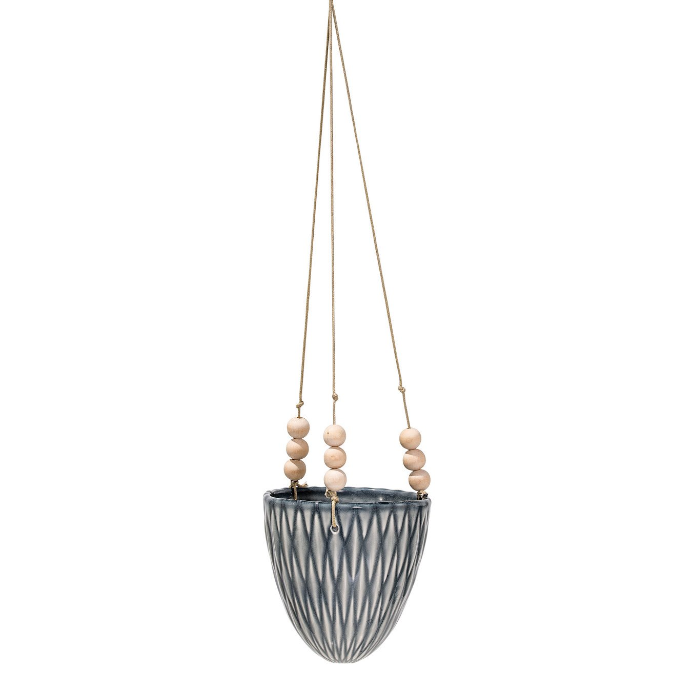 Grey Stoneware Hanging Flower Pot with Wood Beads