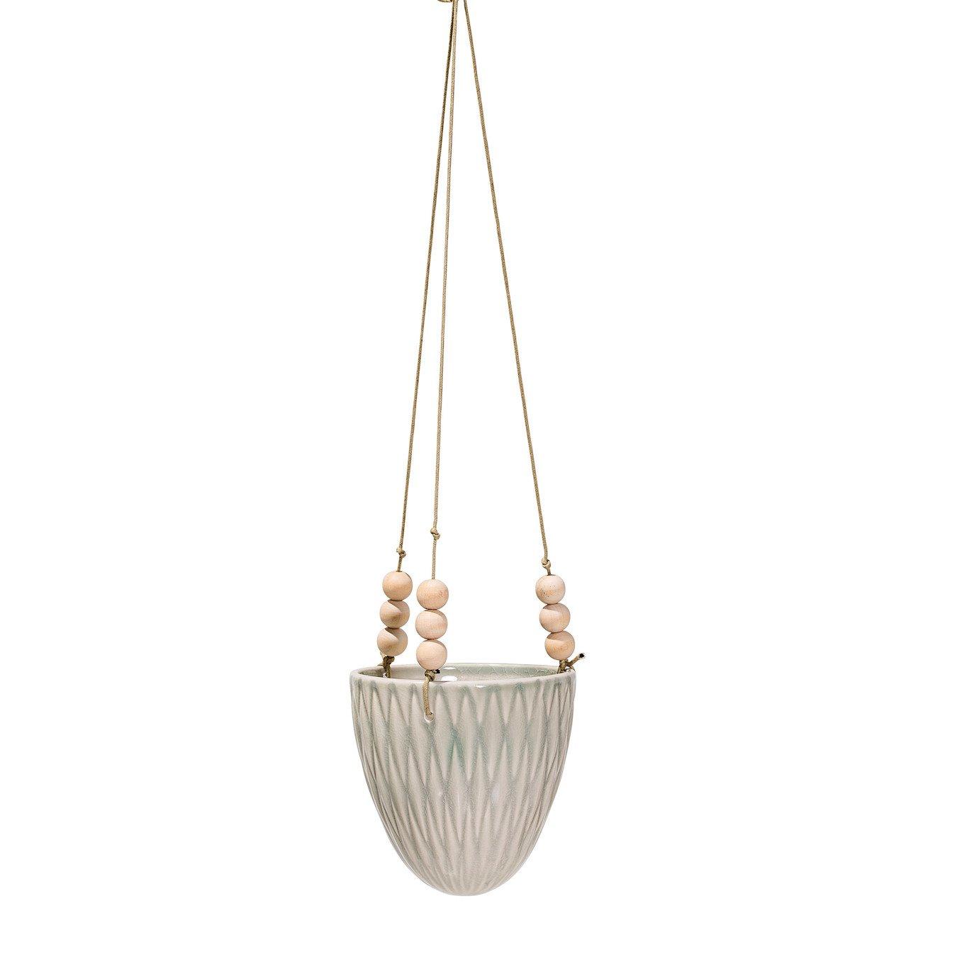 Cream Stoneware Hanging Flower Pot