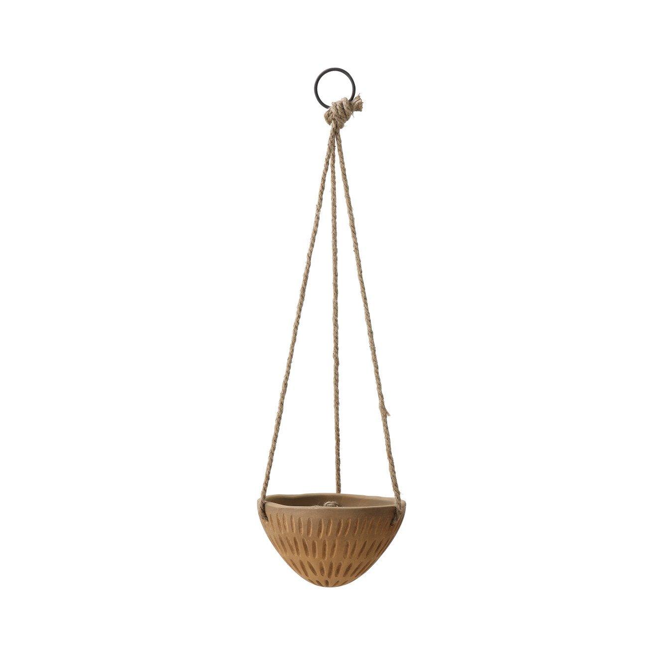Round Terracotta Planter with Jute Hanger