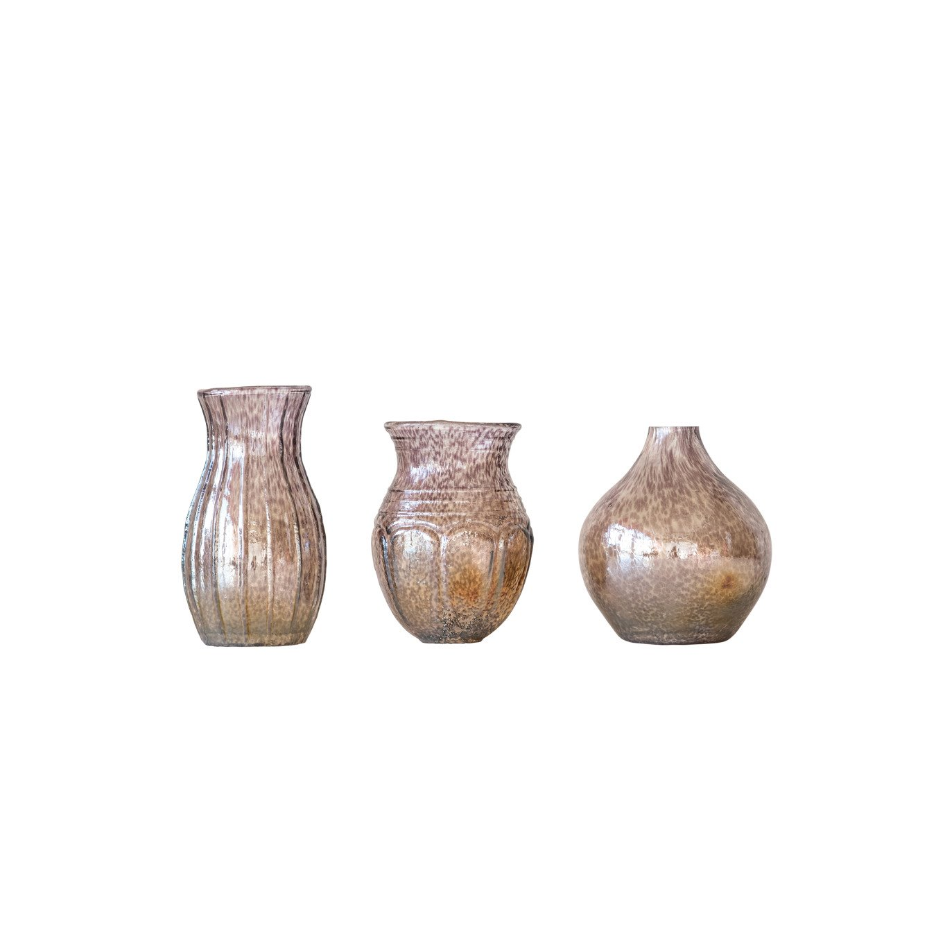 Small Plum Glass Vases with Tan & Off-White Accents (Set of 3 Shapes/Sizes)