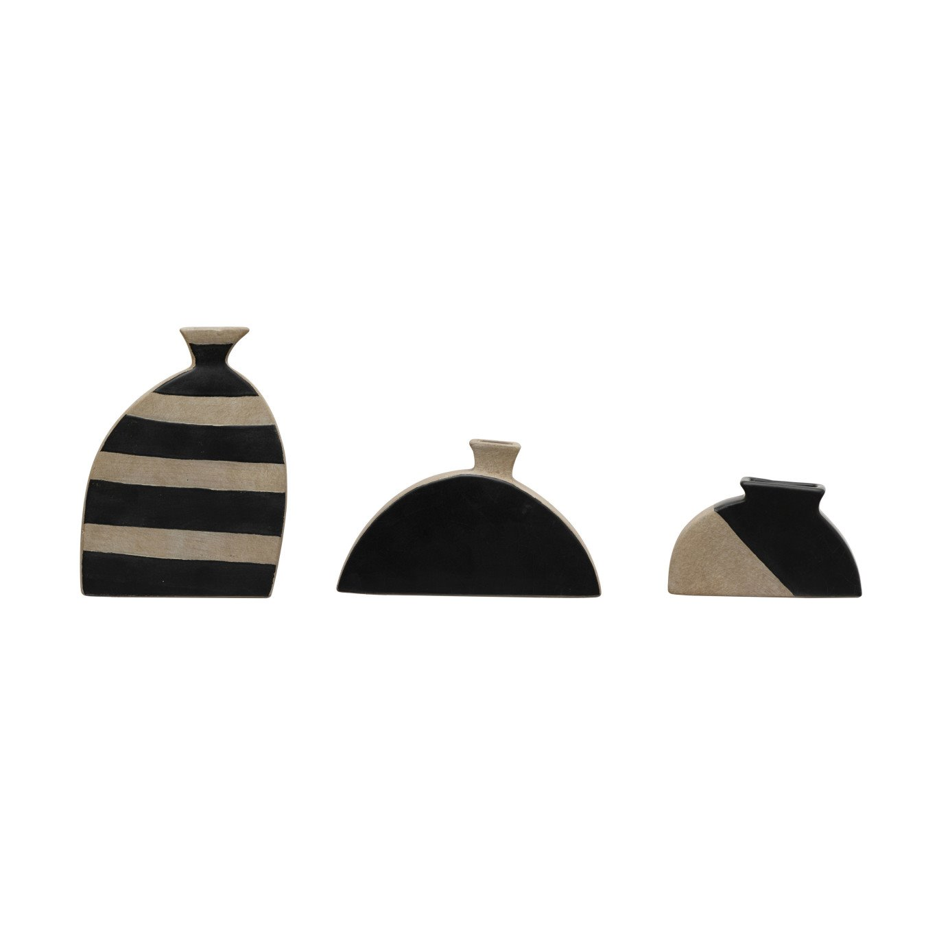 Terra-cotta Vases, Natural & Black, Set of 3