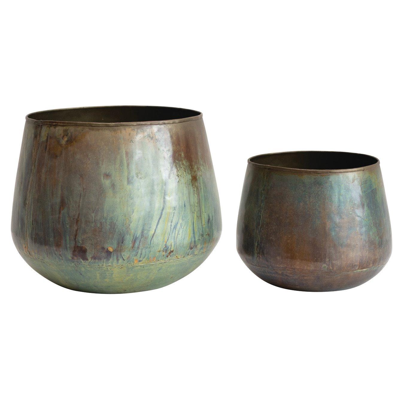 Oxidized Metal Planter, Set of 2