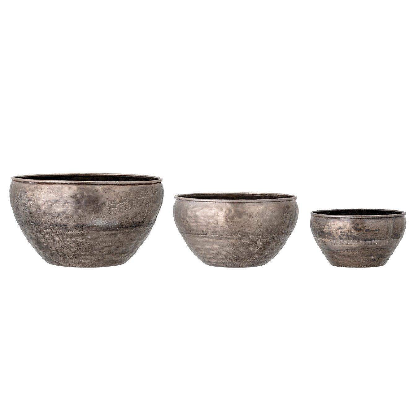 Galvanized Metal Planters, Set of 3