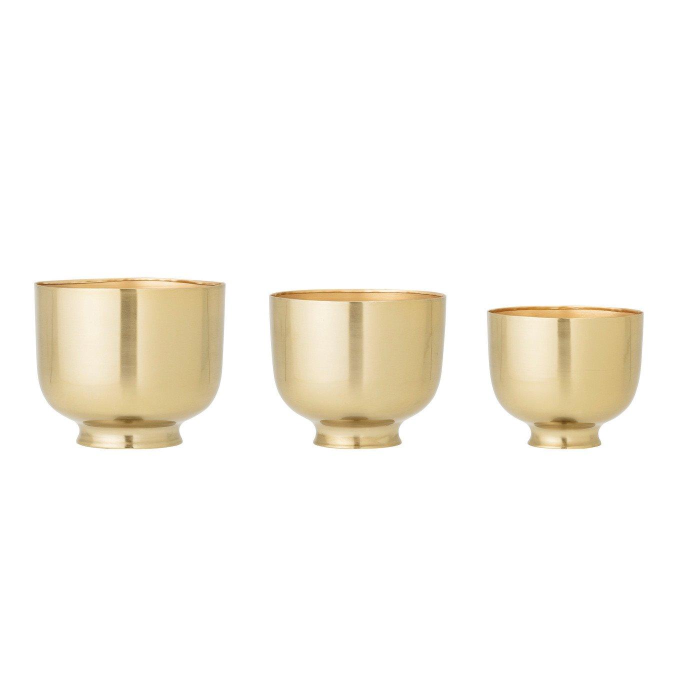 Gold Metal Planters, Set of 3