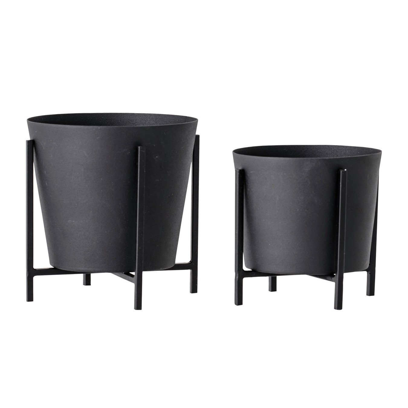 Black Metal Planter with Stand, Set of 2