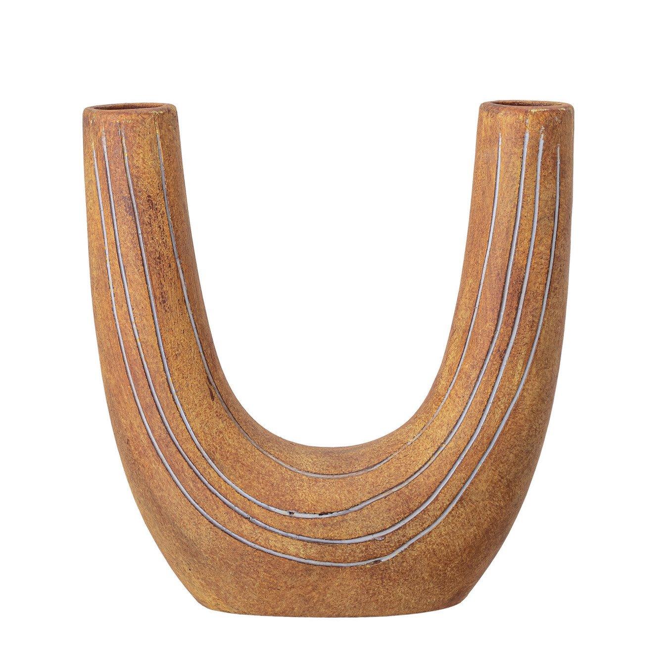 Hand-Painted Terra-cotta U-Shaped Vase w/ 2 Openings & Engraved Lines