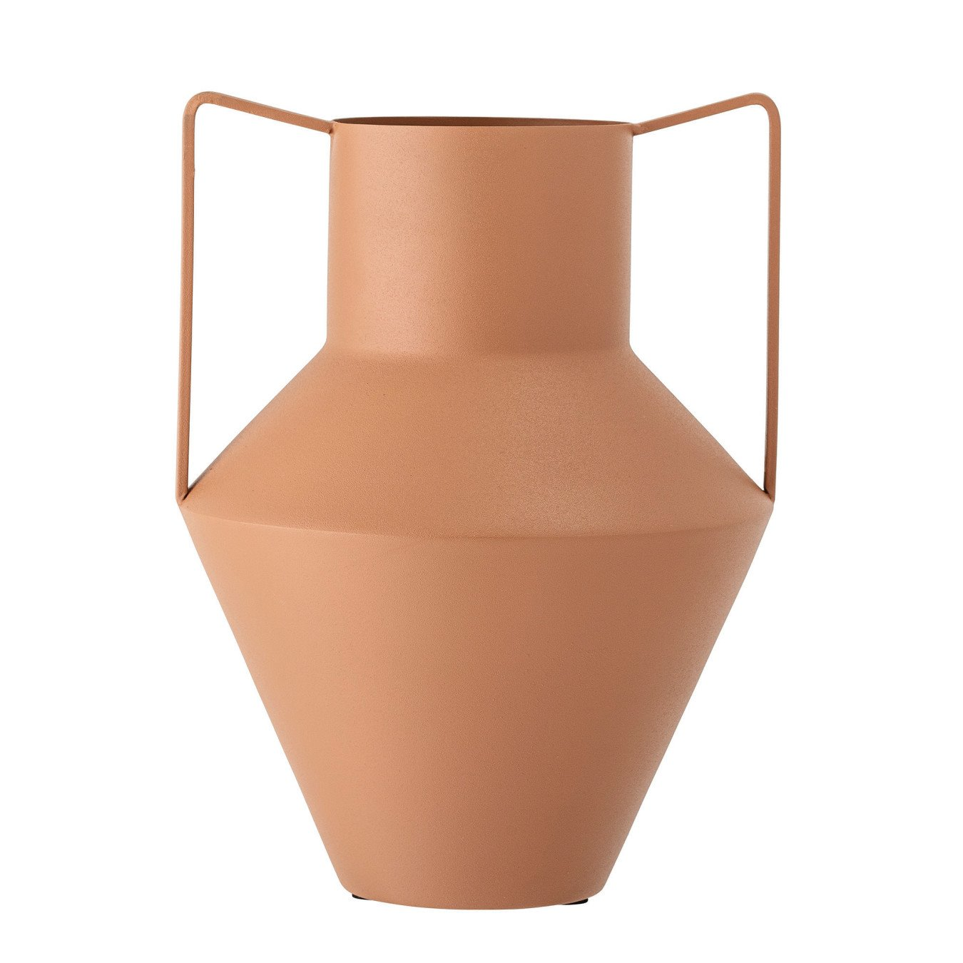 Matte Rust Finish Textured Metal Vase w/ Handles