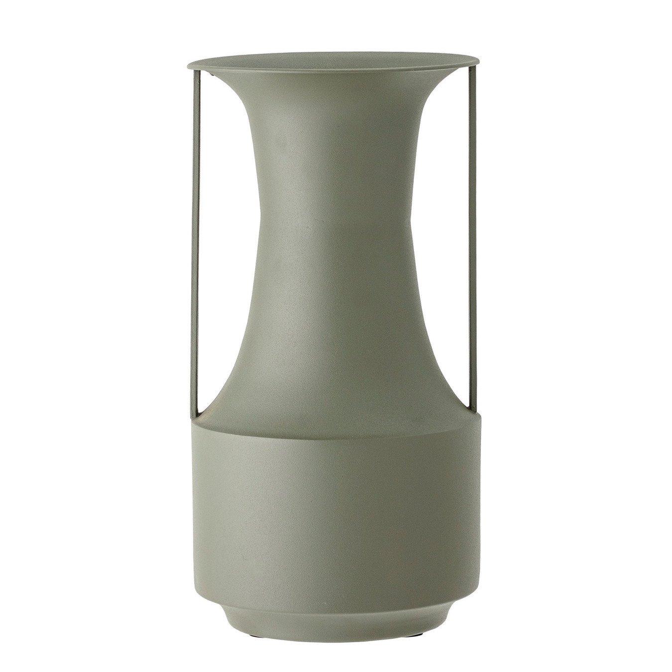 Matte Green Finish Textured Metal Vase w/ Handles