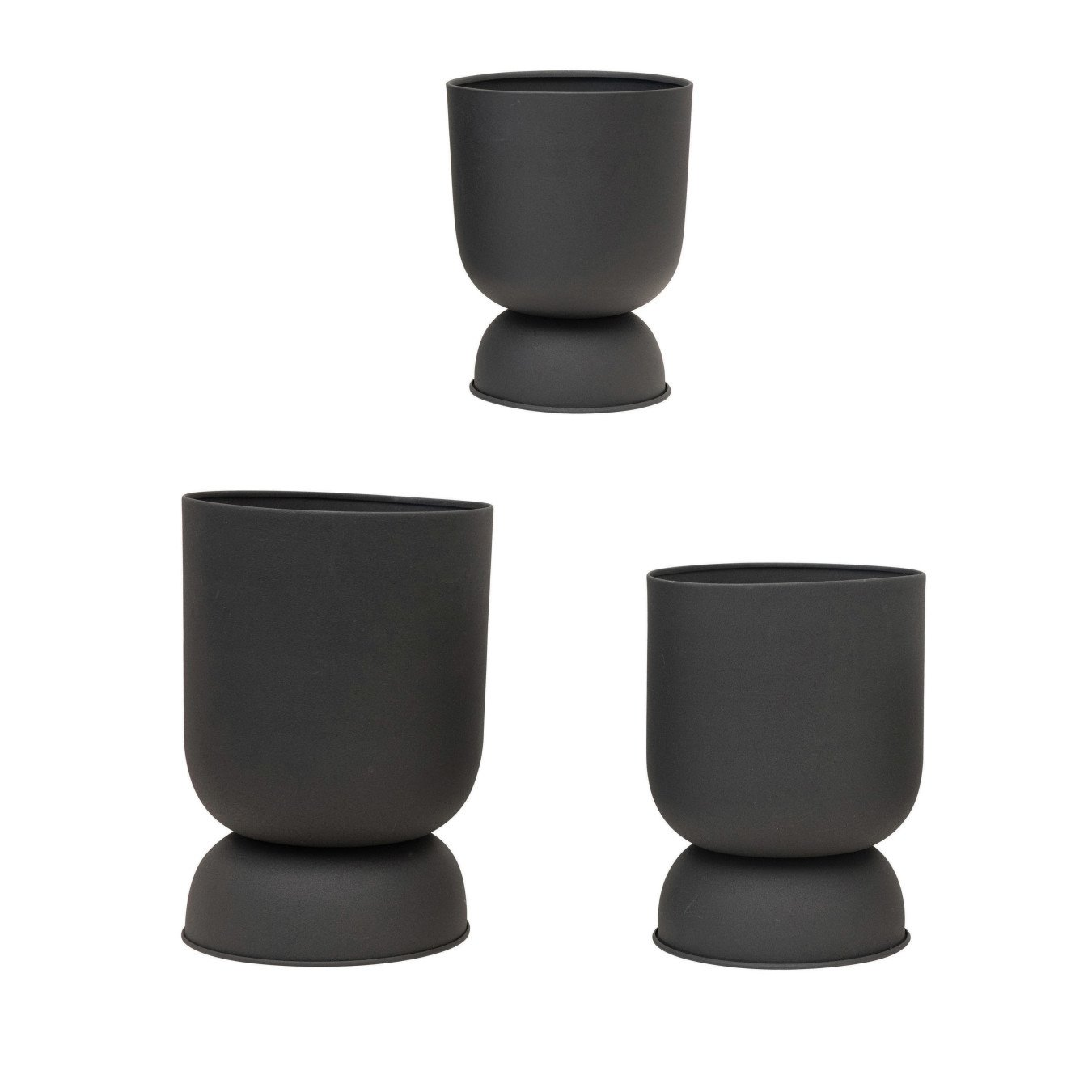 """Textured Metal Footed Planters, Black Finish, Set of 3 (Holds 9"""", 8"""" & 7"""" Pots)"""