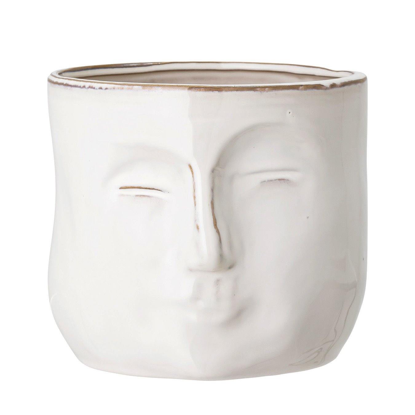 White Stoneware Planter with Face