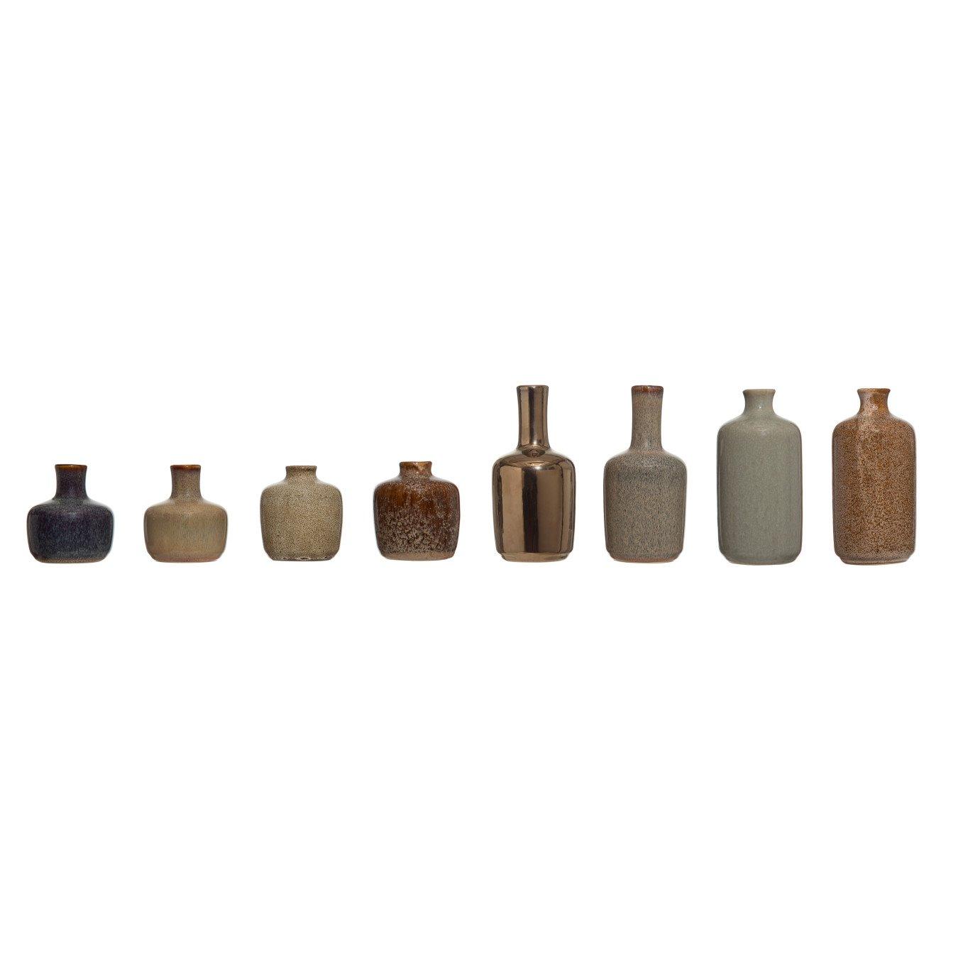 Stoneware Vases with Reactive Glaze Finish (Set of 8 Styles)