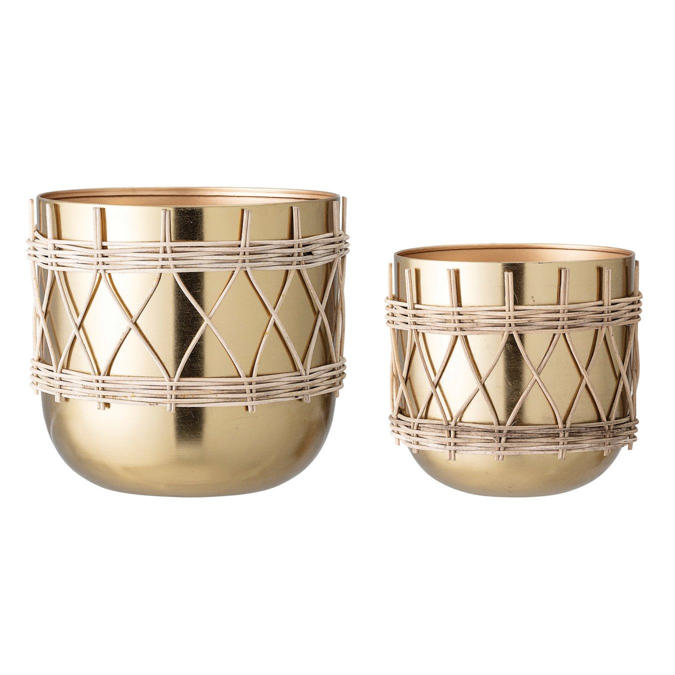 """7""""H & 9""""H Gold Electroplated Metal Planters with Woven Rattan Sleeve (Set of 2 Sizes/Hold 7"""" & 9"""" pots)"""