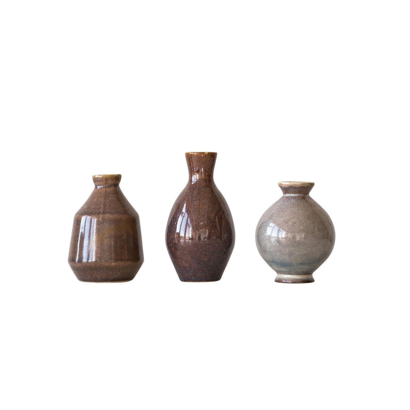 Brown, Plum & Grey Ceramic Vases with Reactive Glaze Finishes (Set of 3 Sizes/Each one will vary)